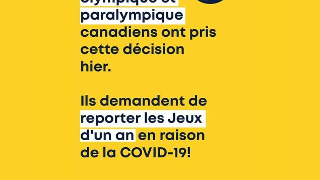 Les comités olympique et paralympique canadiens ont pris cette décision hier. Ils demandent de reporter les Jeux d'un an en raison de la COVID-19!