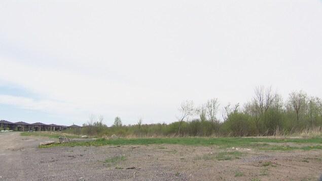Un terrain vague avec des maisons au loin
