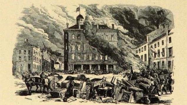 Gravure d'une place publique et d'un bâtiment en feu.