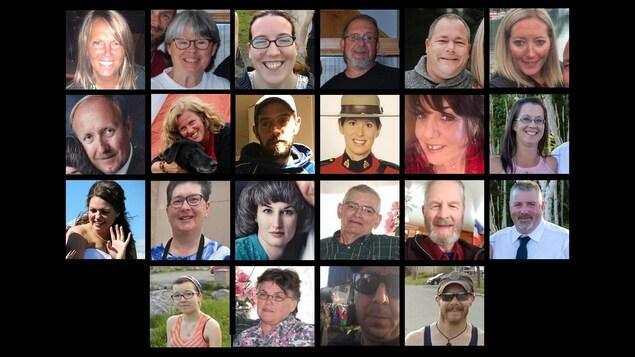 Les 22 victimes de la tuerie de Portapique.