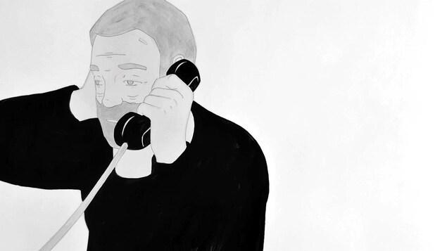 Un dessin en noir et blanc d'un homme barbu au téléphone.