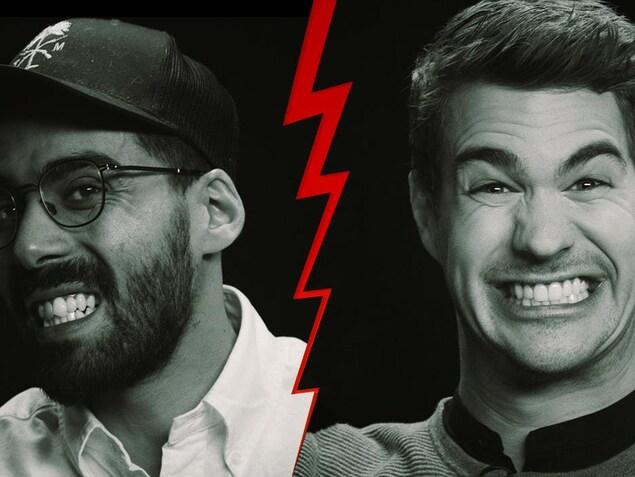 Les humoristes et comédies Adib Alkhalidey et Julien Lacroix en gros plan et en noir et blanc.