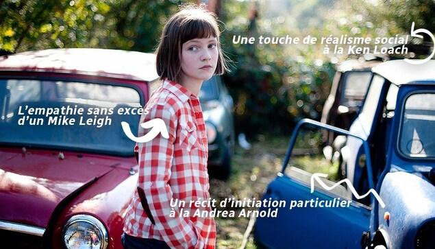 Une jeune fille à chemise carrottée autour de voitures, et cernée de flêches.