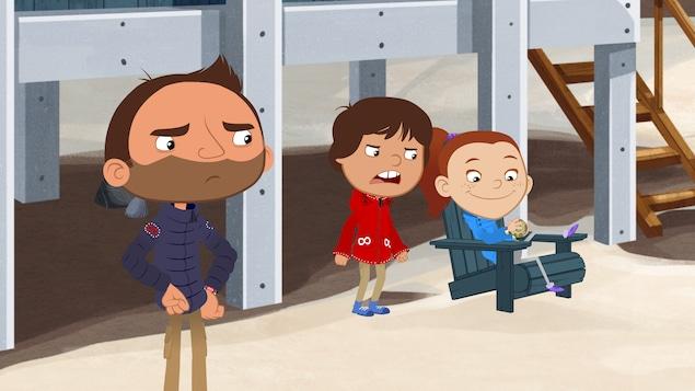 Pam est assis et joue toute seule avec son casse-tête. Ces deux amis sont fâchés contre elle.