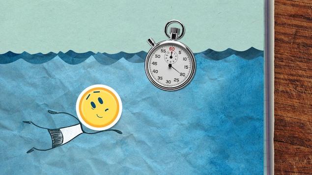 Le héros smiley jaune est dans la mer avec une montre gousset