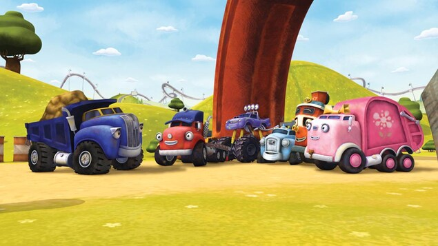 Dan le camion benne, Jack le camion, Max le camion monstre et Gabby le camion poubelle et leurs amis