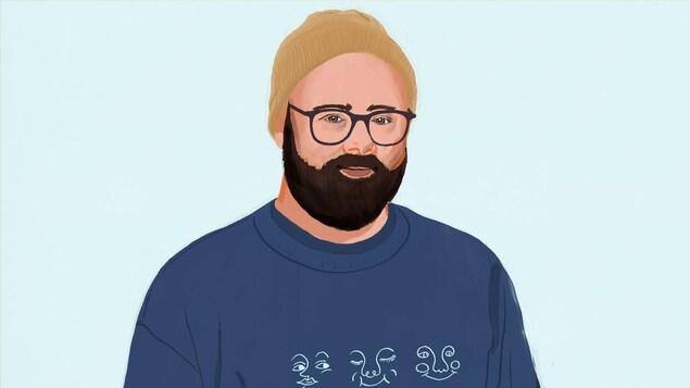 L'animateur et humoriste est illustré en portant un bonnet, un sweat, des lunettes et une barbe.