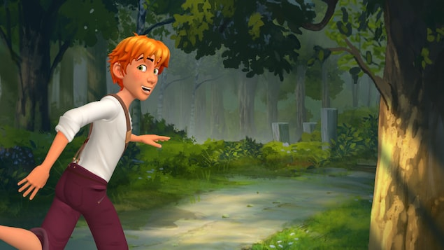 Le personnage de Tom Sawyer court vers la forêt.