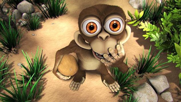 Le singe rit en mettant sa main devant la bouche. Il tient une noix de coco dans l'autre main.