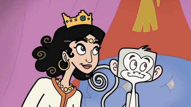 La princesse et le singe sont assis sur un coussin.