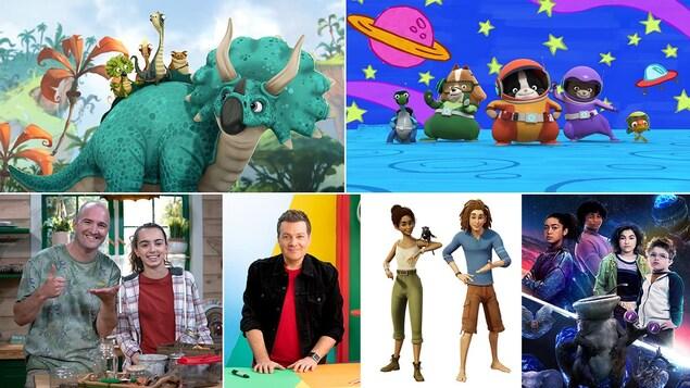 On voit des visuels des émissions jeunesse avec Tarzan et Jane, Agent Binky, Les rescapés...