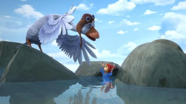 L'enfant et l'oiseau discutent