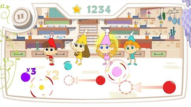 Une image de l'appli L'aventure des magichefs : les enfants dansent dans la cuisine