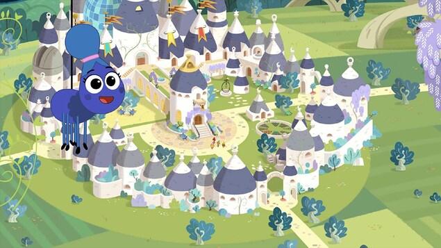 Une image de l'appli L'aventure des magichefs : on voit un petit insecte mignon voler au-dessus des maisons