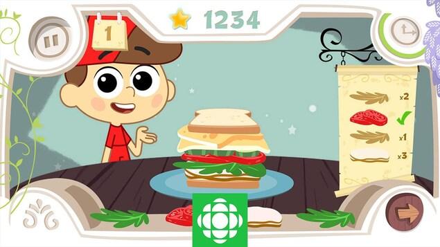 Une image de l'appli L'aventure des magichefs : le petit garçon montre un sandwich avec plein de couches : tomates, salades, pain, fromage