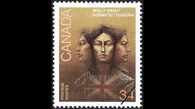 Molly Brant, représentée sur un timbre de Postes Canada