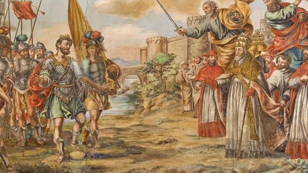 Tableau de la rencontre entre Atilla et le pape Léon Ier, par Juan de Valdés Leal