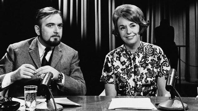 Jacques Languirand et Michelle Tisseyre lors de l'émission «Aujourd'hui», en 1964