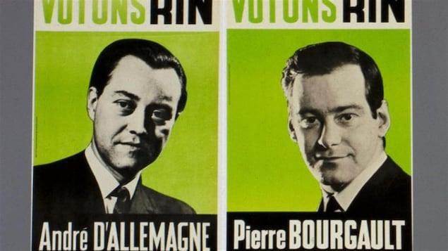 Les affiches des candidats du Rassemblement pour l'indépendance nationale (RIN) en 1966.