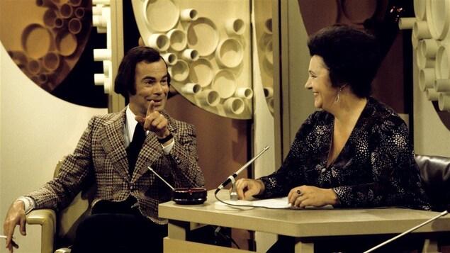 Jacques Fauteux et Lise Payette lors de l'émission <i>Rappelez-moi Lise</i> le 31 août 1973