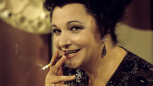 Lise Payette lors d'un tournage d'<i>Appelez-moi Lise</i> le 31 août 1973
