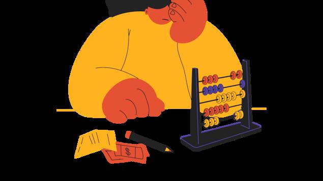 Un personnage, découragé, regarder un boulier pour calculer ses impôts.