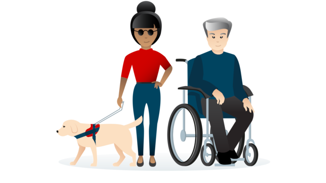 Illustration d'un public présentant un handicap et devant pouvoir comprendre, naviguer et interagir avec le site web quelle que soit son incapacité