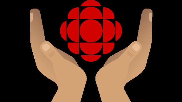 Illustration de deux mains entourant le symbole du logo de Radio-Canada
