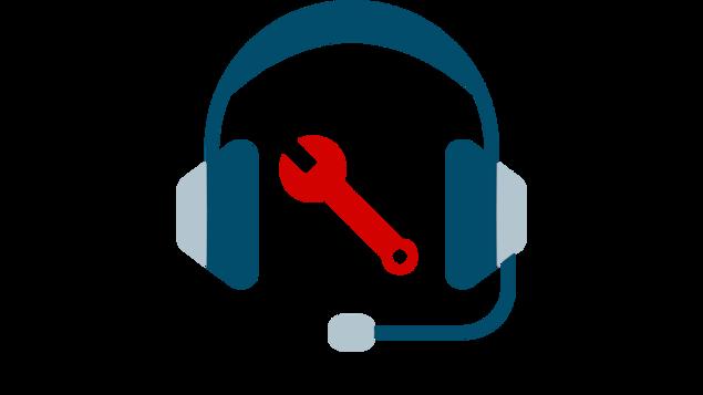 Illustration d'un casque d'écoute et d'une clé à molette