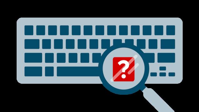 Illustration d'un clavier d'ordinateur avec une loupe survolant un bouton rouge avec un point d'interrogation