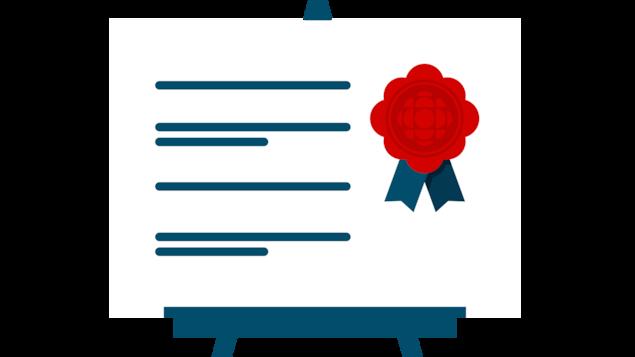 Illustration d'un tableau suggérant du contenu texte avec un ruban contenant le logo de Radio-Canada