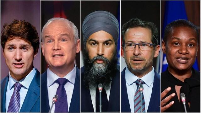 Portrait des cinq chefs réunis dans un photomontage.