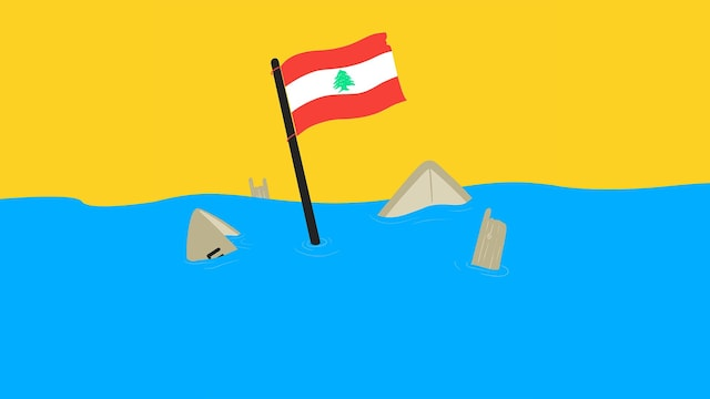 Illustration du drapeau libanais sortant de l'eau.