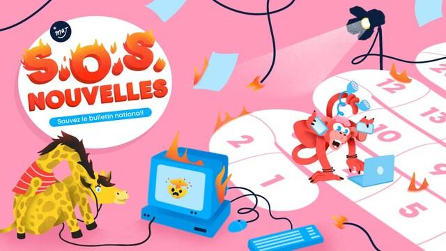 Image principale du jeu « SOS Nouvelles ». Une girafe regarde une télé en feu et un singe est devant son ordinateur tout en tenant plusieurs téléphones entre ses pattes.