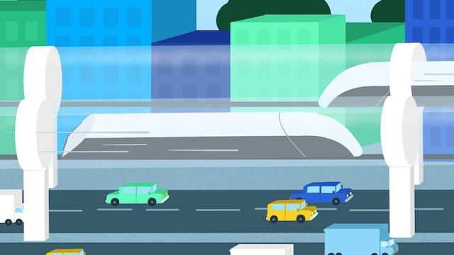 Illustration d'une capsule Hyperloop qui passe dans un centre-ville.