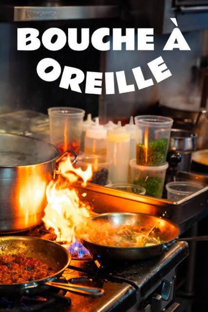 L'affiche de la websérie Bouche à oreille. Elle montre une cuisine de restaurant.