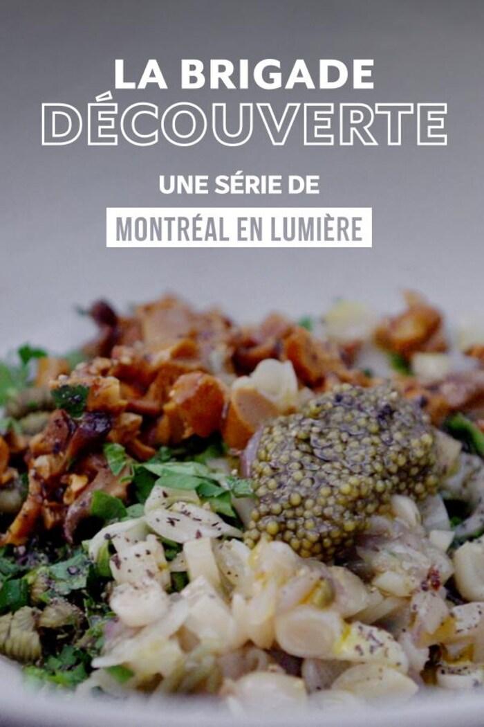 L'affiche de la websérie La brigade découverte avec une assiette remplie de nourriture.
