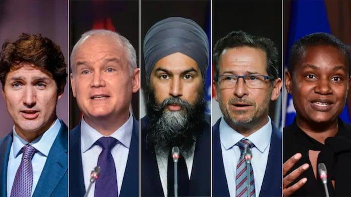 加拿大联邦政党领袖:自由党领袖贾斯汀·特鲁多(左)、保守党领袖艾林·奥图尔(中左)、新民主党领袖贾格米特·辛格(中)、魁北克党团领袖伊夫-弗朗索瓦·布兰切特 (中右)和绿党领袖安娜米·保罗 (右)。