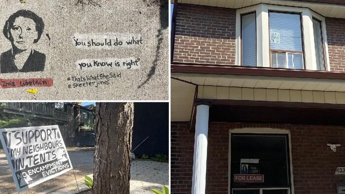 À Davenport, RCI a vu plusieurs exemples des préoccupations évoquées par les habitants du district que nous avons interrogés. À droite, au premier étage, une affiche pour le mouvement Black Lives Matter. Au premier étage, une bannière pour les logements locatifs, l'une des rares dans ce quartier extrêmement dense. En bas à gauche, une affiche en faveur des sans-abri et en haut, une des oeuvres urbaines du projet artistique #ThatsThatSheSaid de @SkeeterJones.
