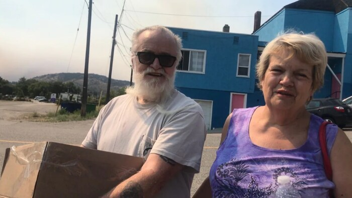 Rod and Geraldine Foley fled their home in Oliver on Monday after a nearby wildfire exploded in size.