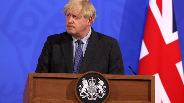 Britain's Prime Minister Boris Johnson gives an update on the COVID-19 pandemic during a virtual press conference inside the Downing Street Briefing Room in central London on June 14, 2021.