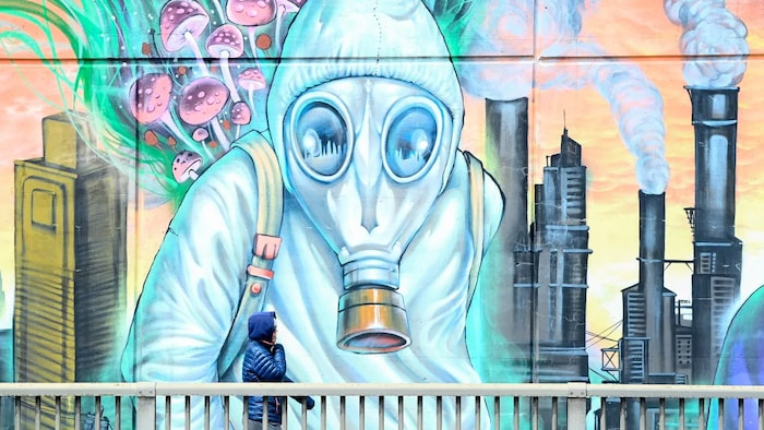 A person walks past a Toronto mural depicting the harms of air pollution. According to the World Health Organization, 90 per cent of the world's population breathes air with concentrations of PM 2.5, a pollutant known to have impacts on health, that exceed the recommended levels in its last guidelines, published in 2006.