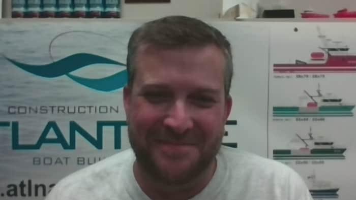 Le directeur général chez Construction navale atlantique, Jean-Pierre Robichaud, en vidéoconférence.