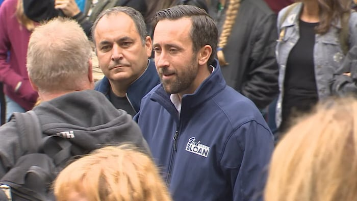 Banff-Airdrie independent candidate Derek Sloan, who was ousted from the federal Conservative caucus after accepting a donation from a known white nationalist, was among those in attendance at the rally against vaccine mandates.