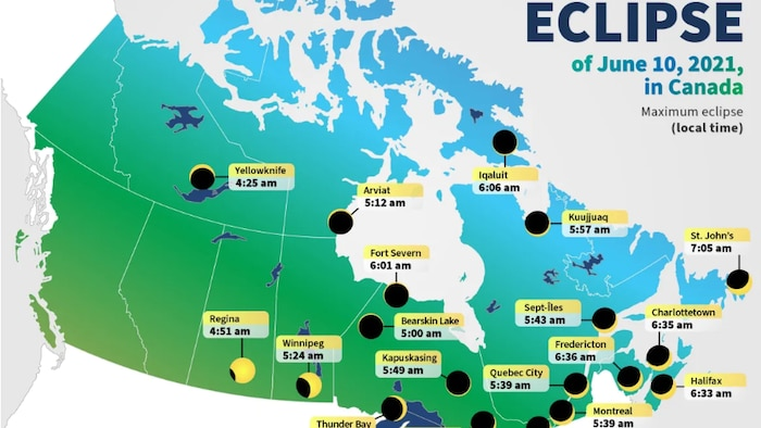 This map notes the times of maximum eclipse for Canadian cities.