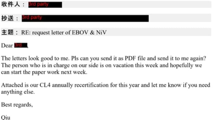 An email sent by Qiu on July 4, 2018 is seen redacted documents recently released by the Public Health Agency of Canada.