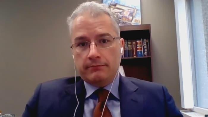 Gabriel Poliquin, avocat du groupe Égalité santé en français, le 20 novembre 2020.