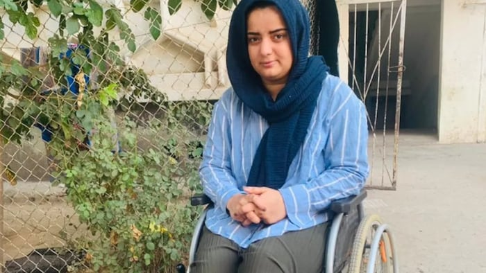 Children's rights activist Hasina Muaser was left in a wheelchair following a Taliban attack and is now stranded in Vahdat, Tajikistan.