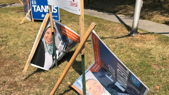 Ottawa South NDP candidate Huda Mukbil said police have been alerted to vandalism done to her election signs and are investigating. (Twitter )