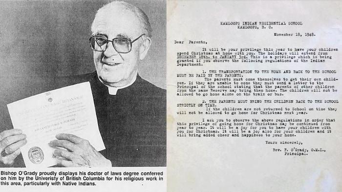 L'évêque John Fergus O'Grady, à gauche. À droite, la lettre envoyée aux parents des élèves du pensionnat autochtone en 1948.